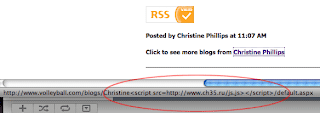 Screen capture of malicious script in URL