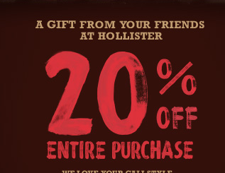 graphic regarding Hollister Printable Coupon called Hollister coupon 20 / Property excellent coupon code 2018