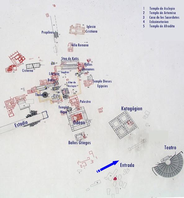 Mapa de las ruinas de Epidauro