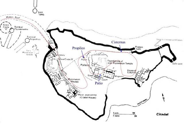 Plano de la ciudadela de Micenas