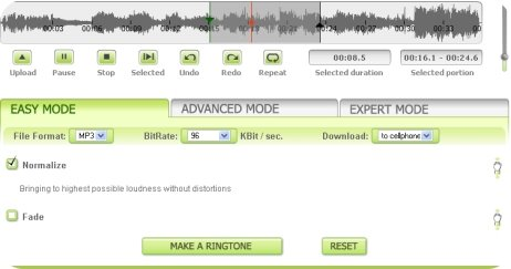Cut MP3 audio file online to make ringtone without