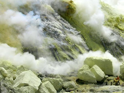 Activities Sulphur Miner at Kawah Ijen