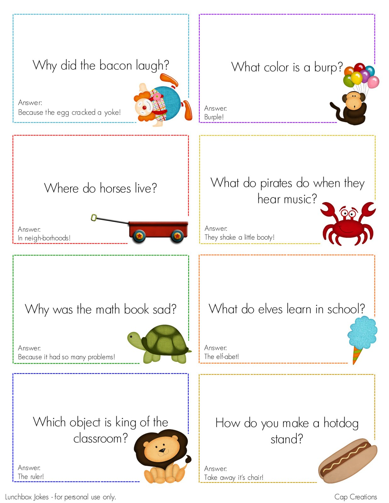 Cap Creations Free Printable Lunchbox Joke Cards