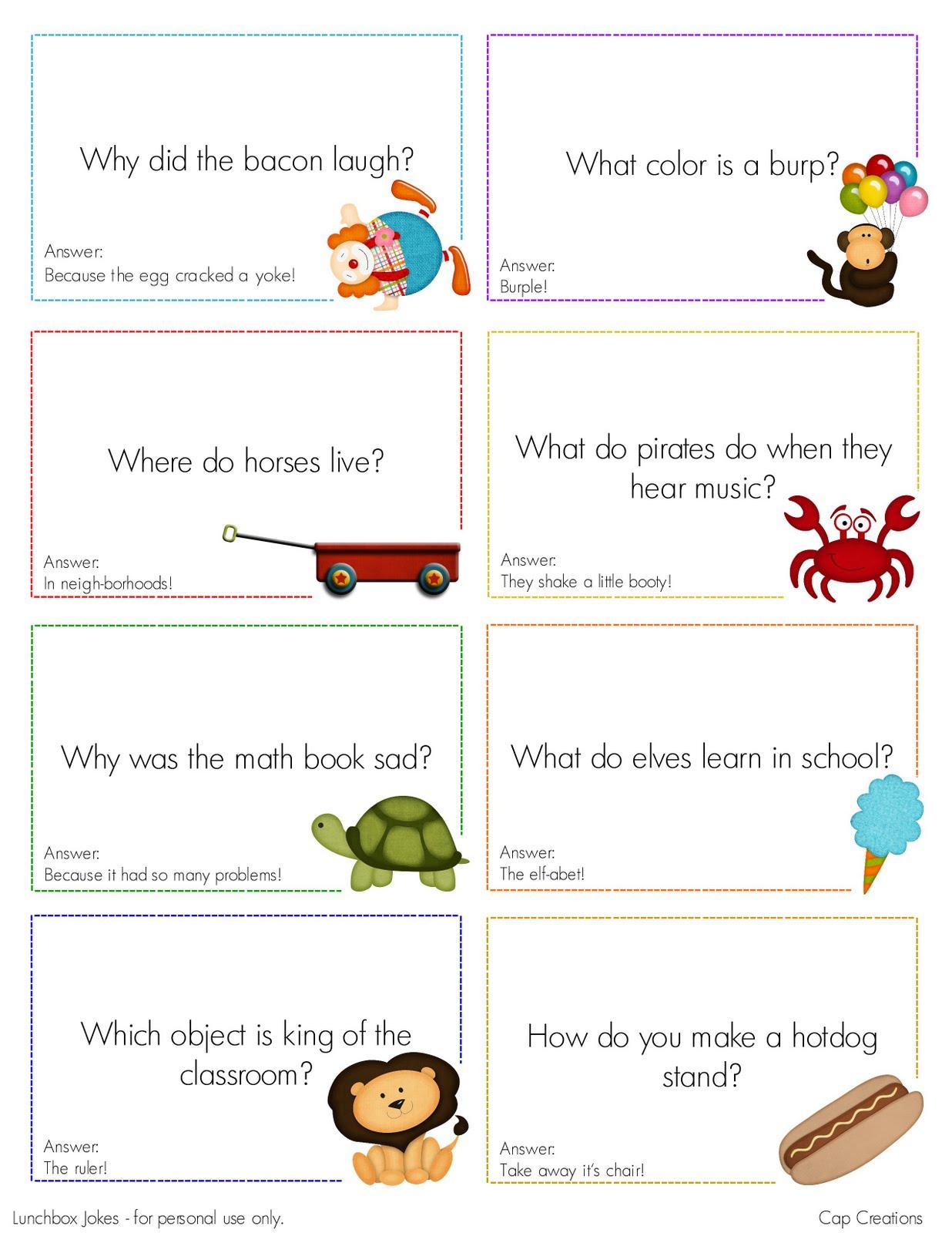 Cap Creations Free Printable Lunchbox Joke Cards