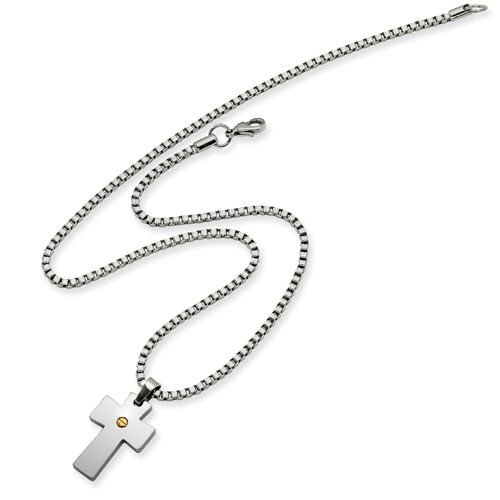 Steel IP Plated Cross Necklace