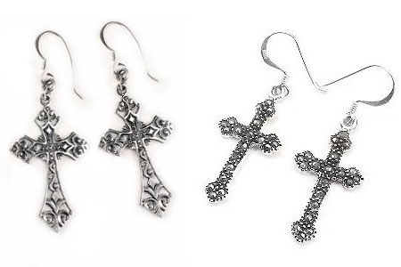 Silver Religious Earrings
