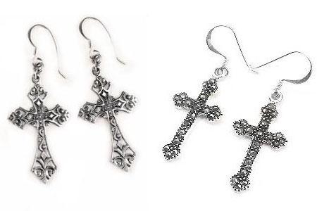 Silver Religious Earrings