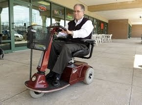 Michael Balkin of Metro Detroit rides his Shabbat Scooter from Amigo and Zomet Institute