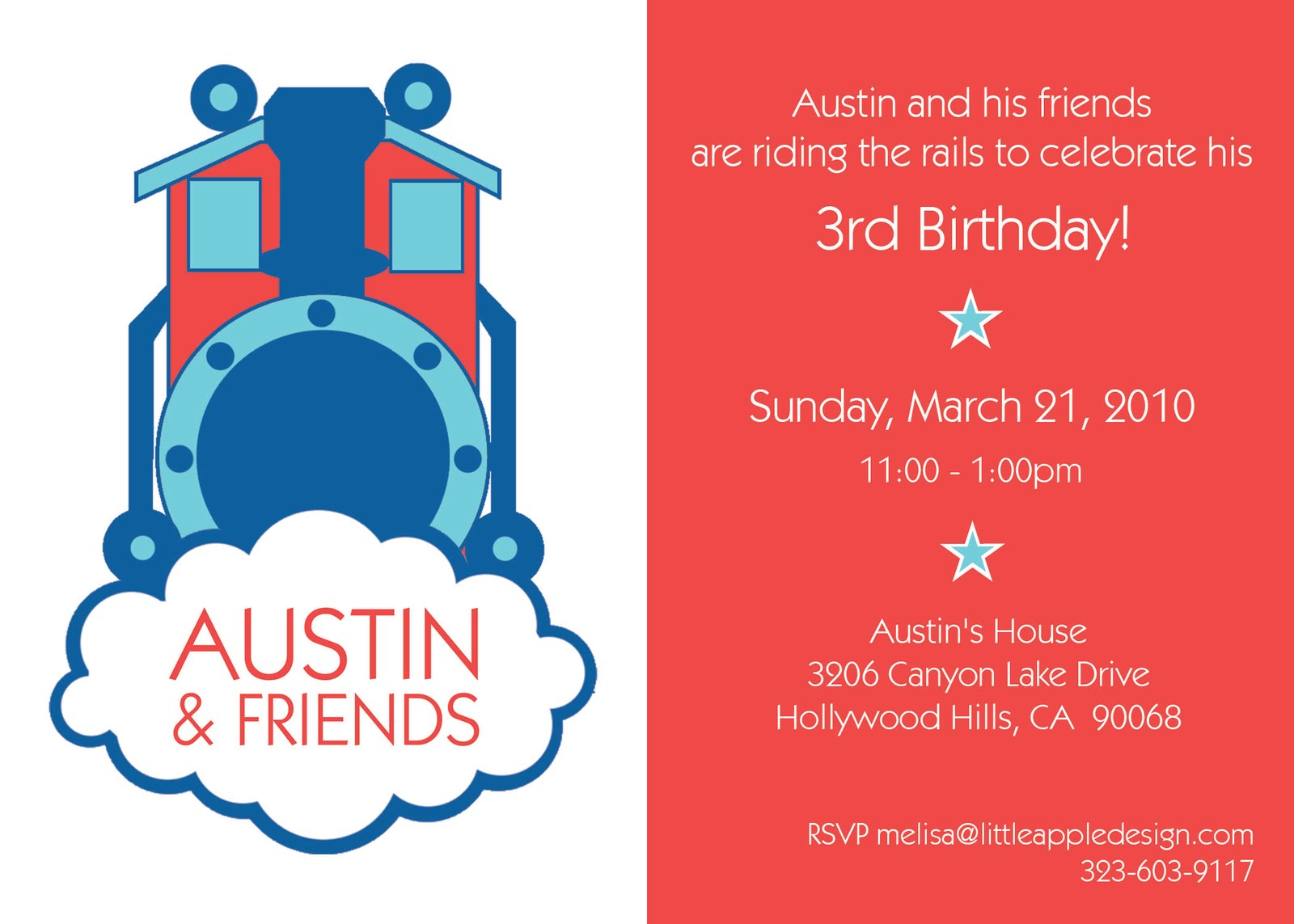 Train Themed Birthday Party Invitations