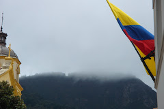 The Colombian flag in a shrouded Bogotá