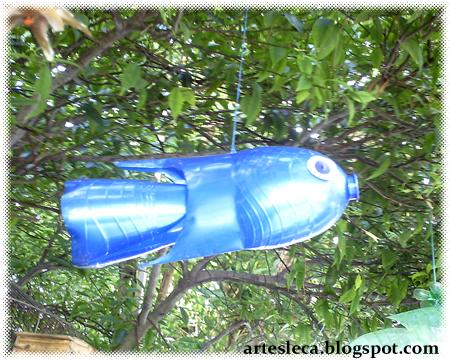 Peixe de Garrafa PET azul