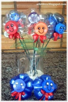 Flores de Garrafas PET em vaso