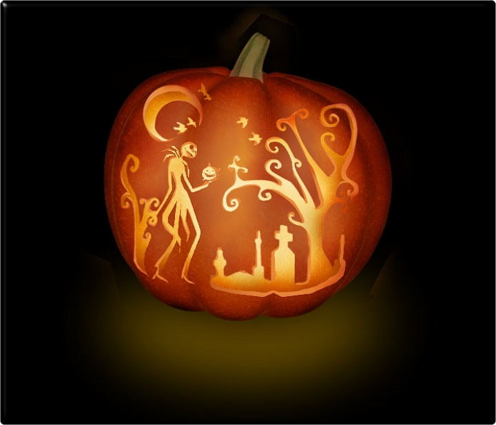 It is a photo of Jack Skellington Pumpkin Stencils Free Printable pertaining to facehugger