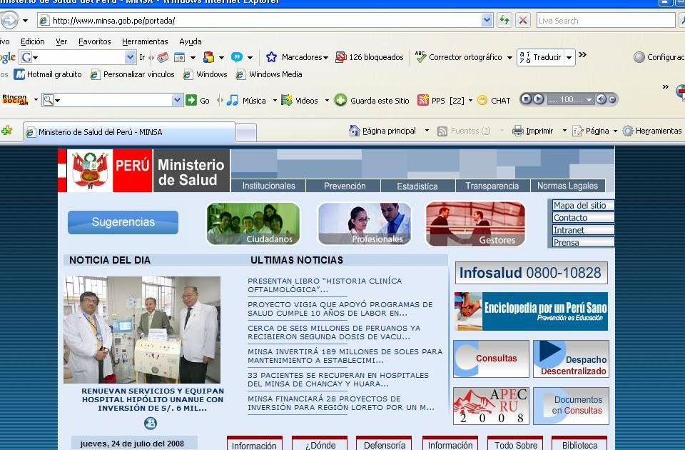 Ciencia pan y rosas ministerio de salud del peru pagina for Pagina web ministerio interior