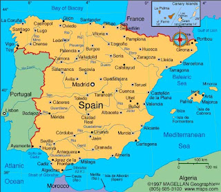 Map Of Spain Oceans.Travel Into World Geography Of Spain
