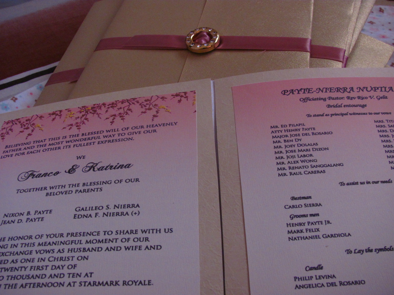 The Combination Of Old Rose And Gold Wedding Invitation
