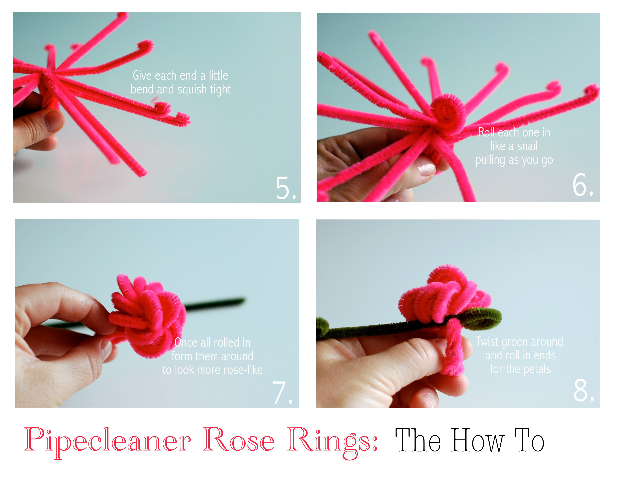 pipe cleaner rose ring DIY