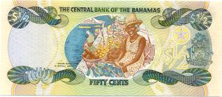 Download reverso de un billete de medio dollar de bahamas de
