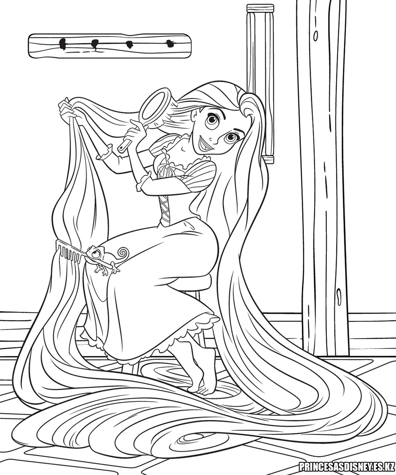 "Princesas Disney: Dibujo para colorear de ""Rapunzel ..."