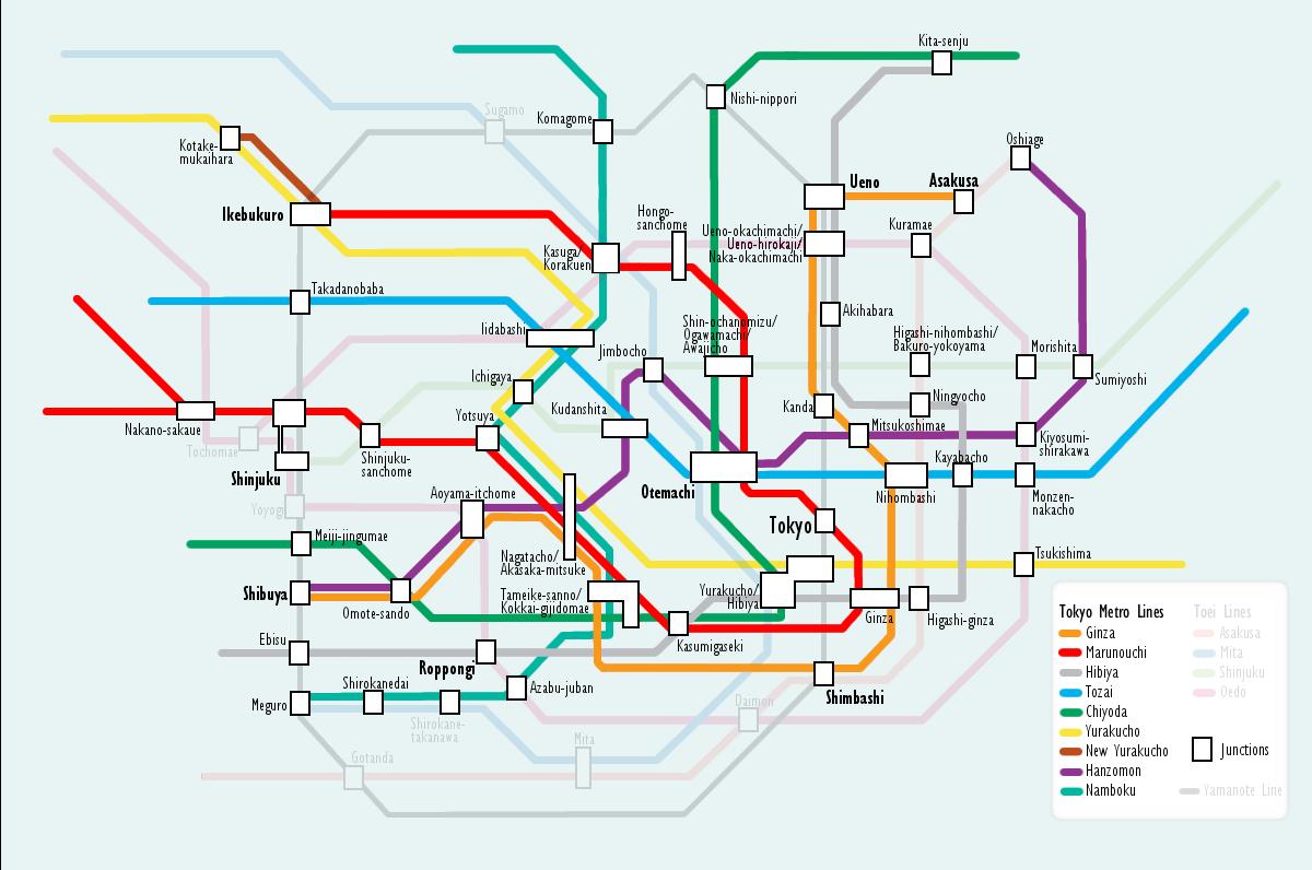 Tokyo Subway Map With Attractions.Top 10 Punto Medio Noticias Tokyo Subway Map Tourist