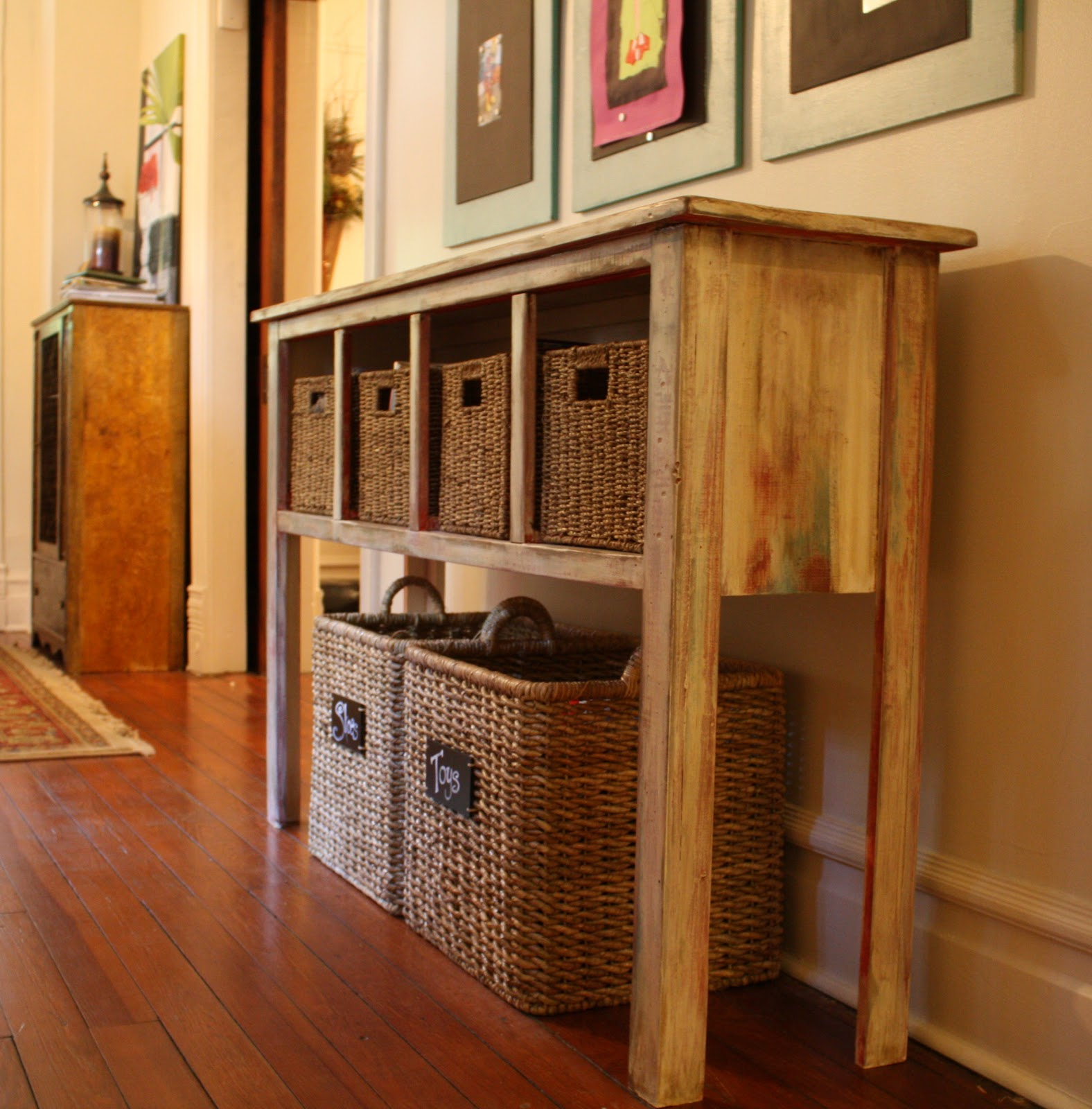 sofa table storage baskets custom leather canada our southern nest distressed console