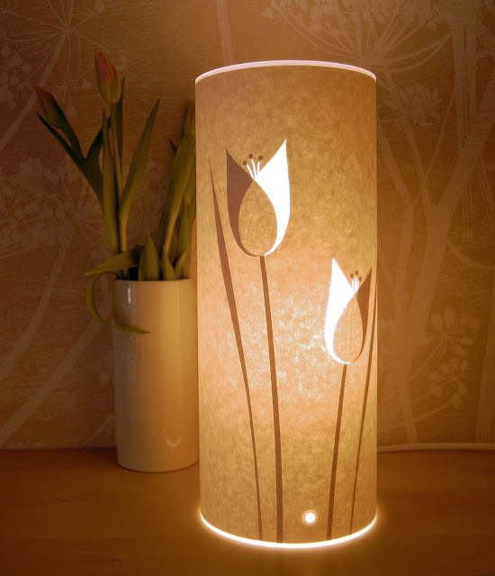 paper cylinder lantern with paper cut tulips