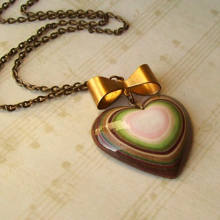 layered paper heart-shaped necklace