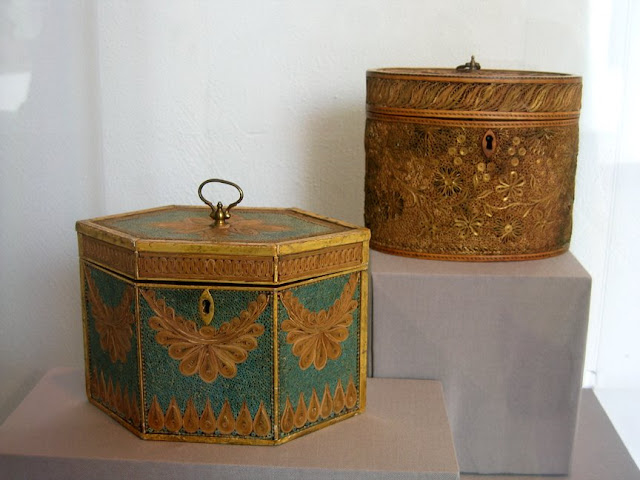 antique quilled tea caddies