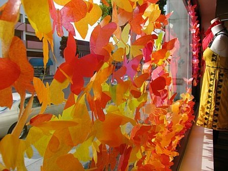paper butterflies in Anthropologie store window