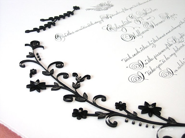 Quilled floral Quaker marriage certificate