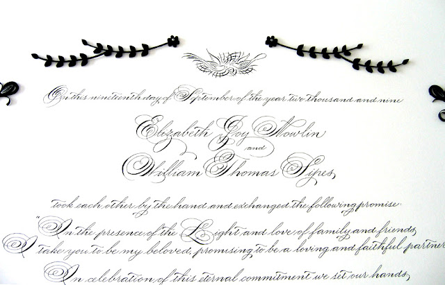 Quilled Quaker marriage certificate - top elements