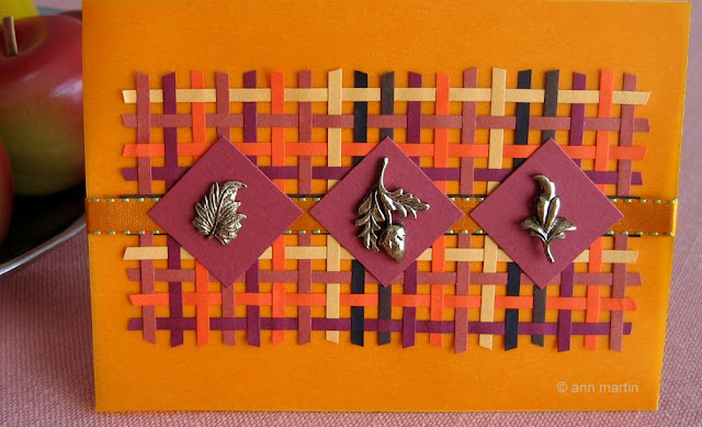 woven card using quilling strips as weaving material in autumn shades