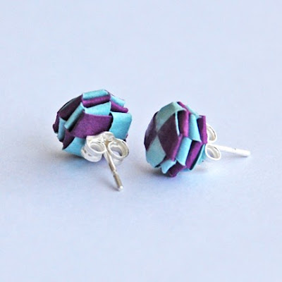 woven purple and light blue paper earrings