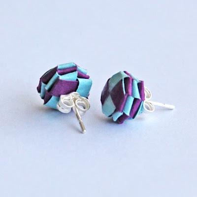 woven purple and light blue paper earrings
