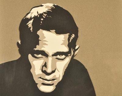 layered paper cut portrait of man