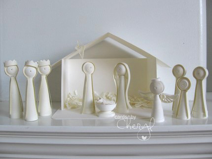 all-white quilled nativity scene