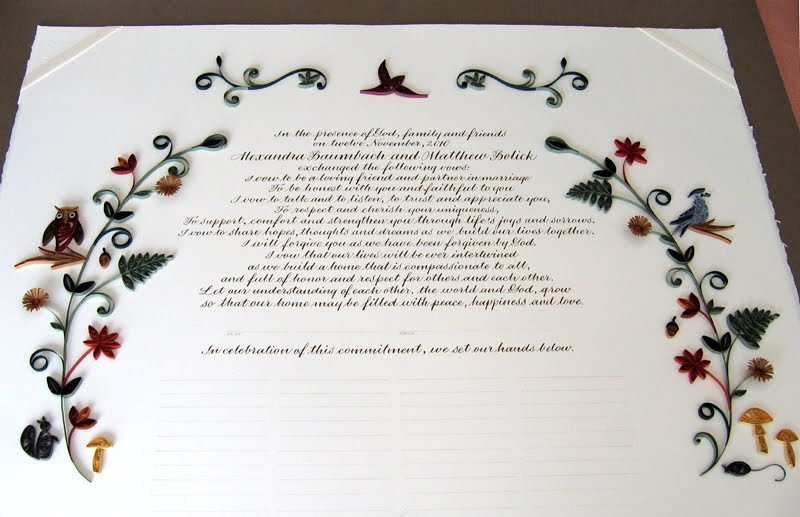 All Things Paper: Quilled Woodland Quaker Marriage Certificate