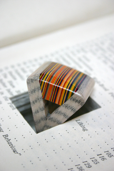 triangular striped layered paper ring