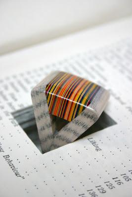 triangular striped layered paper ring
