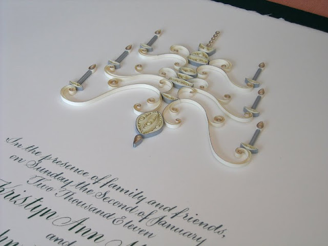 Quilled marriage certificate - detail