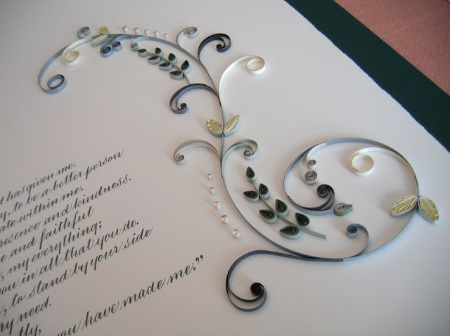 Quilled marriage certificate S scroll