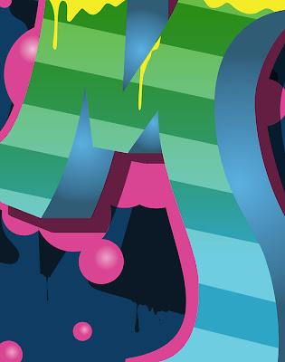 Graffiti Letter M With Combination 3d And Bubble Design
