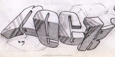 Neck 3D Graffiti Sketches Graphic Design Art On Paper