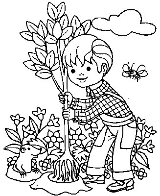 Kids Coloring Pages Boy Is Planting