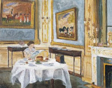 Painting of The Queen at Breakfast by her husband