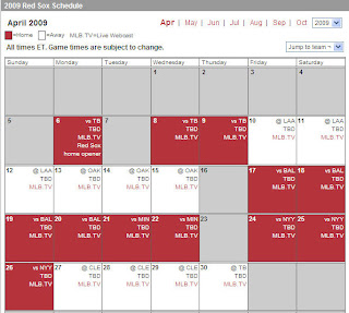red sox schedule # 23