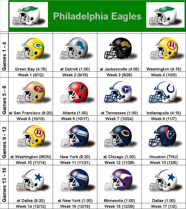 It's just an image of Philadelphia Eagles Printable Schedule with training camp