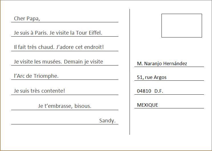 La Langue Francesa: Écrire une Carte Postale