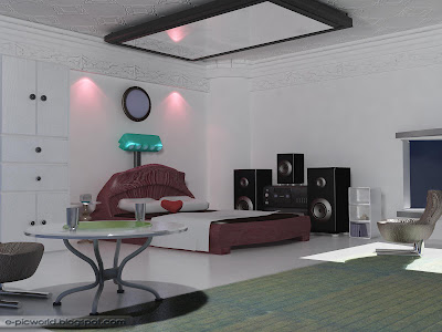 3d interior design wallpaper - aesthetic master room