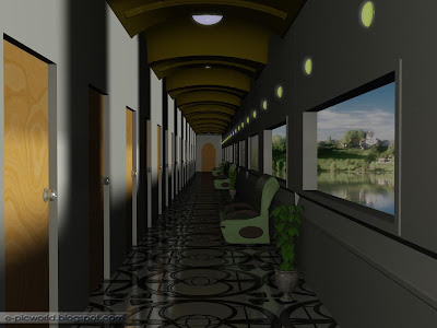 A long corridor - interior design wallpaper